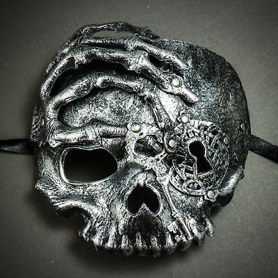 Pirate Steampunk Halloween Skull Venetian Masquerade Half Face Mask - Silver (Pirate Mask Halloween)