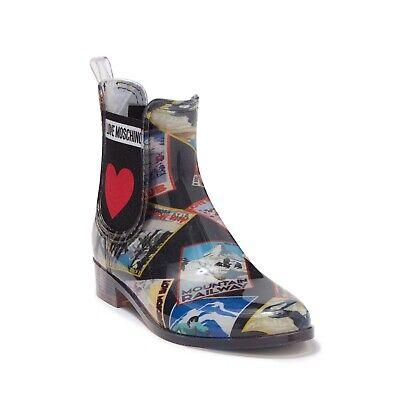 New Women's Sizse 35 Love Moschino Chelsea Rain Boots MSRP $179