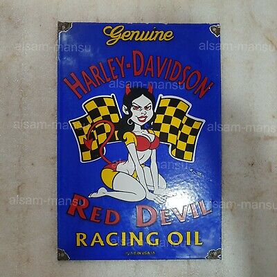 HARLEY RED DEVIL 9 X 13 INCHES VINTAGE ENAMEL SIGN