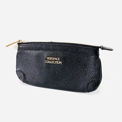 Versace Collection Leather Wallet Wristlet Black Cosmetic Case