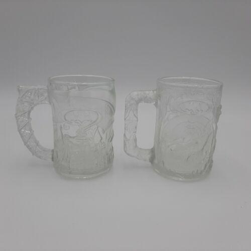 1995 Batman Forever: CLEAR GLASS EMBOSSED Batman & Robin Set Mugs - McDonald