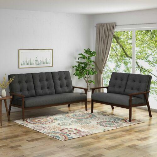 Maureen Mid Century Modern 2-Piece Fabric Sofa & Love Seat Living Room Set Furniture
