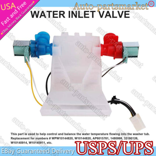 Water Inlet Valve for Whirlpool Kenmore Maytag Washer WPW10144820, AP6015761