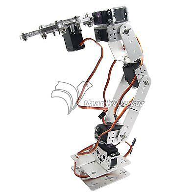 Rot2u 6dof Aluminium Robot Arm Clamp Claw Mount Kit W Servos For Arduino-silver