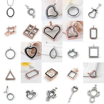 Living Memory Locket Glass Pendants Necklaces For Floating Charms Jewelry Gift](Floating Charm Locket Necklace)