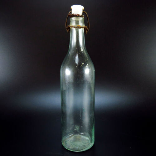 "BNP Co Embossed Bottom Antique Aqua Clear Glass Bottle & Top 10.75"" x 2.75"""