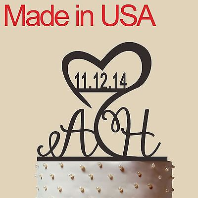 """Initial Cake Topper,Personalized Wedding Cake Topper, Acrylic, Made in USA 5"""" - Initial Wedding Cake Toppers"""