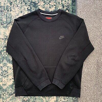 Mens Black Nike Tech Fleece Sweatshirt Jumper Size Medium