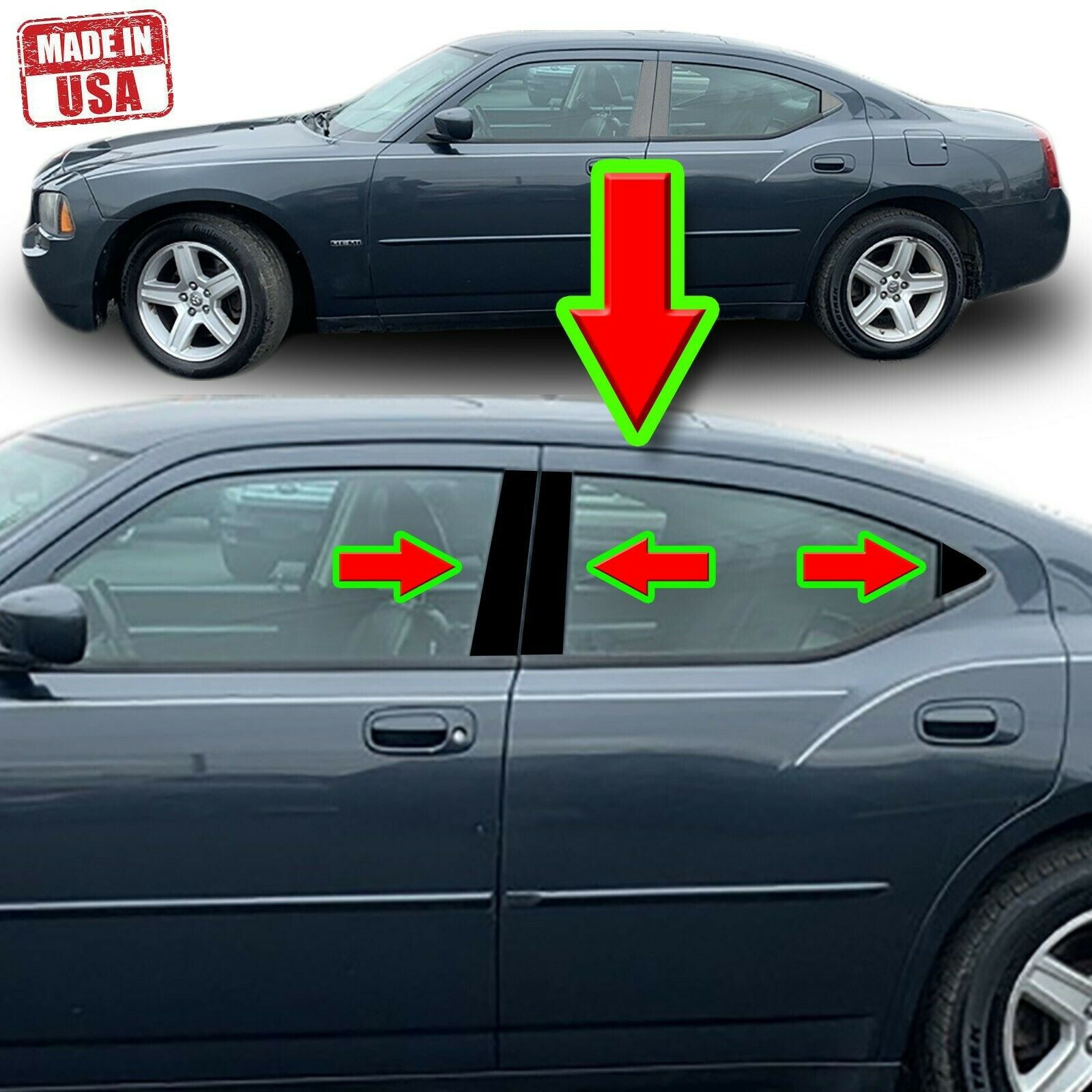 Black Pillar Trim For Dodge Charger 06 10 6pc Set Door Cover Piano Trim Ebay