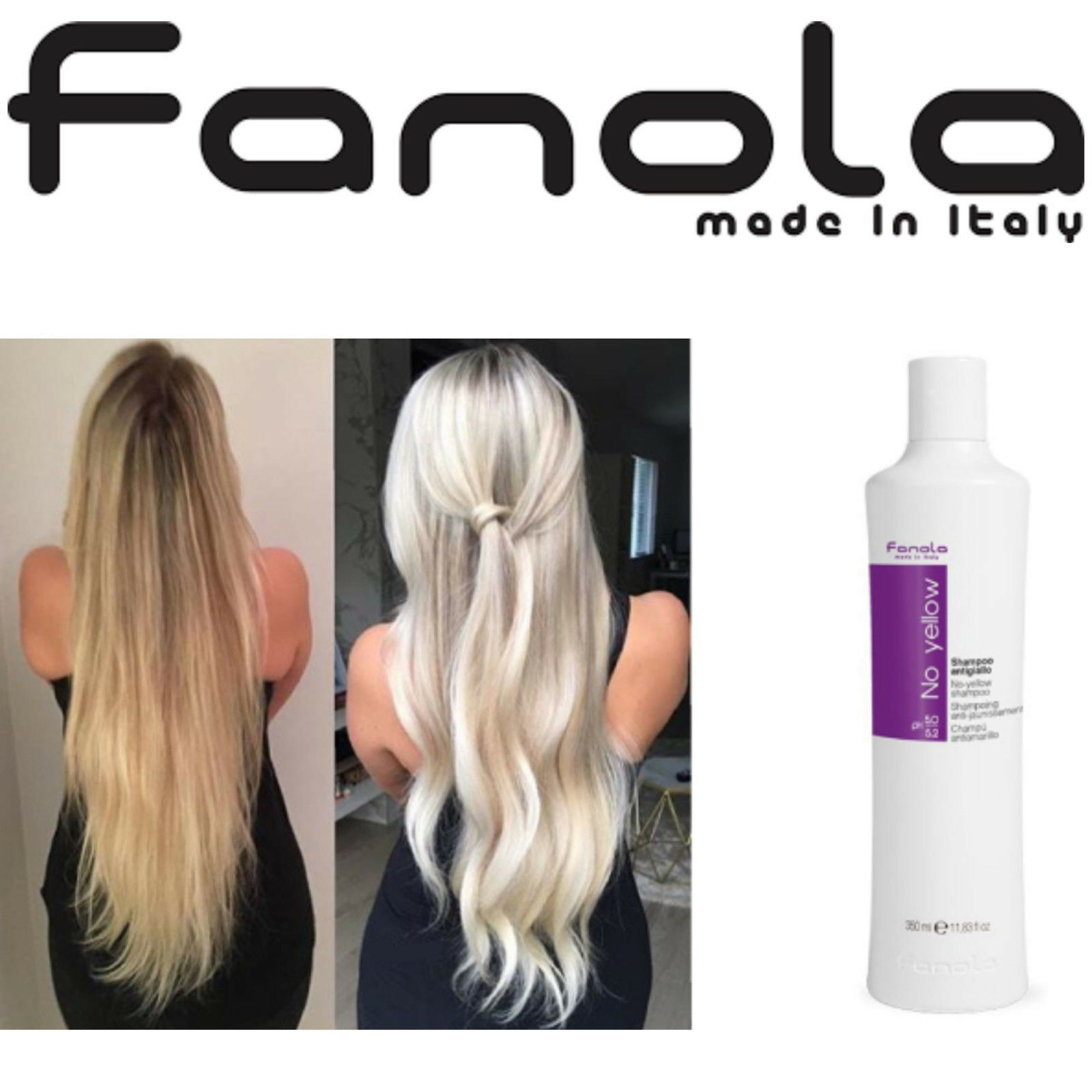 Fanola No Yellow Shampoo Purple Toner For Blond Hair Care 1000ml