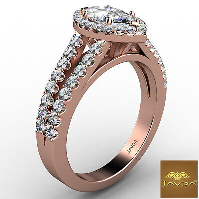 Halo French U Pave Marquise Cut Diamond Engagement Ring GIA Color E VVS2 1.96Ct 9