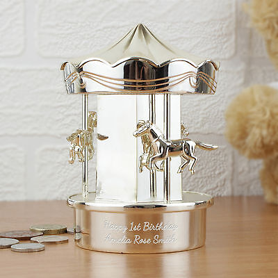 Personalised Silver Plated Carousel Money Box - Boy Girl Piggy Christening Gift