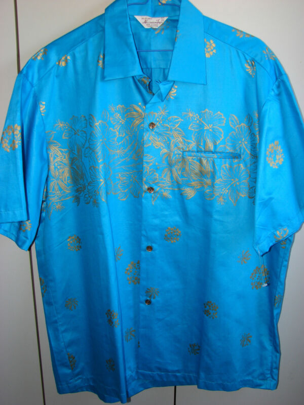 Hawaiian Togs  Large  Gold Hibiscus on Turquoise Vintage/NWOT