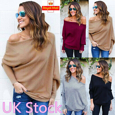 Women Off Shoulder Bardot Jumper Tops Ladies Long Sleeve Winter Sweater Pullover