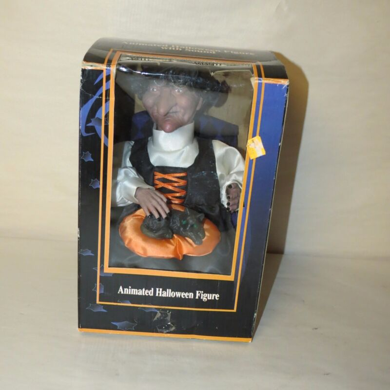 GEMMY HALLOWEEN FACTORY ANIMATED WITCH PETTING HER CAT NIB