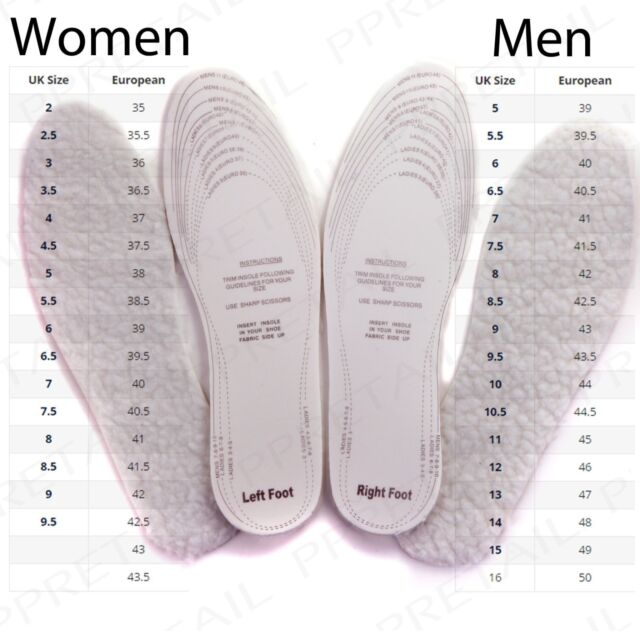 2 PAIRS THERMAL PADDED SHOE INSOLES Comfy Thick Cut To Size Mens/Ladies 3-12