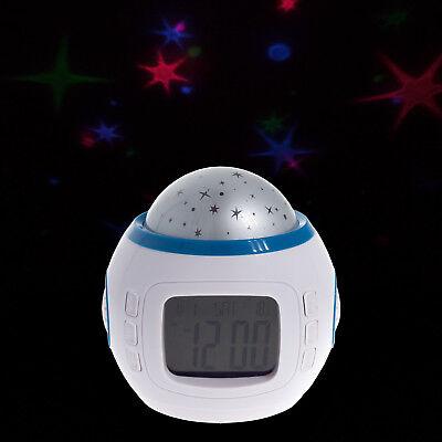 LED Wecker mit Musik Nachtlicht Sternenhimmel Projektion Melodie Farbwechsel (Wecker Mit Musik)