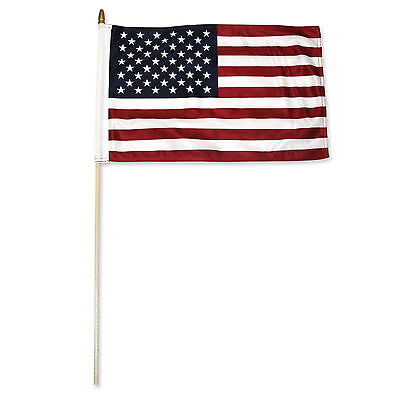 "12x18 12""x18"" USA American Premium Quality Stick Flag wood staff (30 inch staff)"