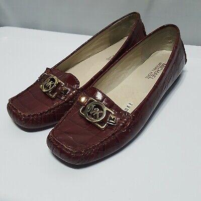 Michael Kors Charm burgundy loafer crocodile pattern leather flats shoes sz 6.5 (Michael Kors Charm Flats)