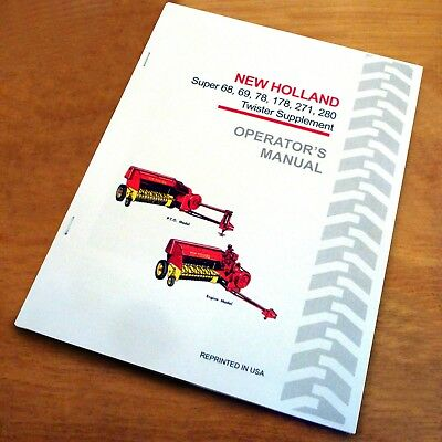 New Holland 68 69 78 178 271 280 Baler Twister Operation Adjustment Manual