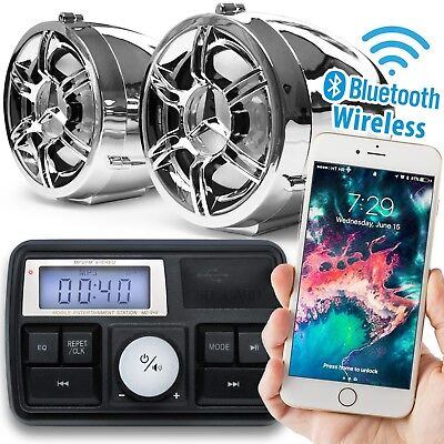 Chrome Motorcycle Bluetooth Handlebar Audio System Radio Stereo MP3 Speakers