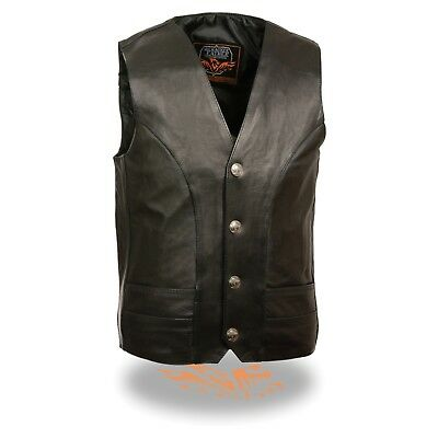 Milwaukee Leather Men's Buffalo Nickel Snaps Classic Vest W/ Gun Pockets *ML1368 - Buffalo Nickel Snaps