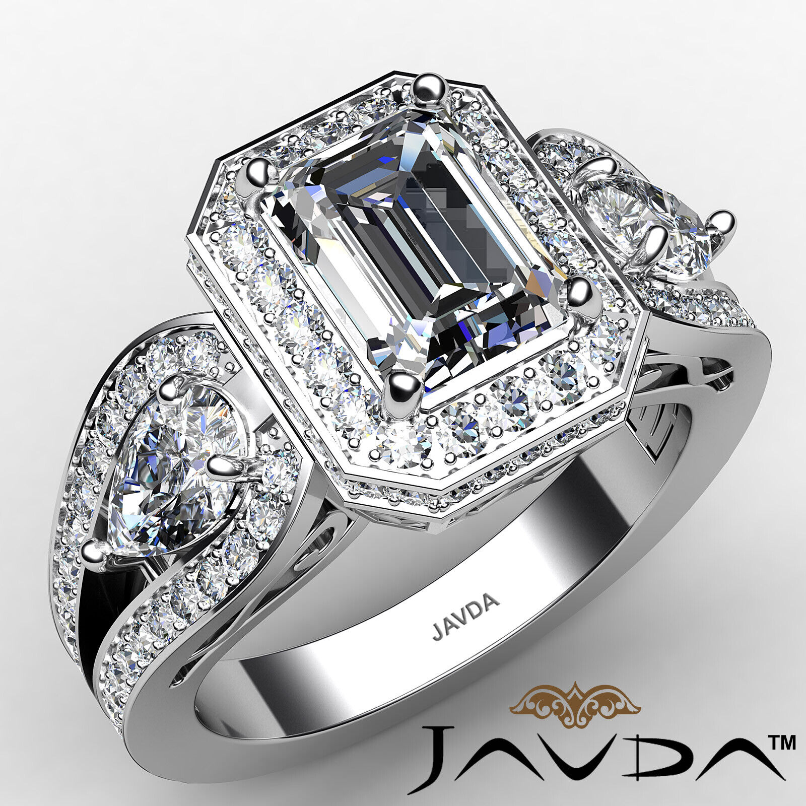 Halo Emerald Diamond Engagement Ring GIA Certified J Color & VS2 clarity 2.85ctw