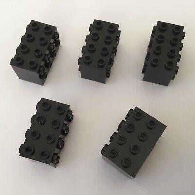 5 Lego Bausteine 2x4x2 schwarz Konverter mit Noppen auf der Seite NEU 2434