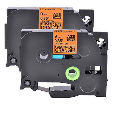 2pk Compatible Brother P-touch Tz Tze-b21 Black On Fluo Orange Label Tape 9mm