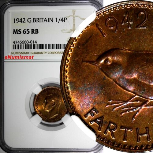 Great Britain George VI  Bronze 1942 Farthing NGC MS65 RB TOP GRADED WWII KM#843