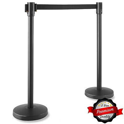 2 Pc Black Stanchion Queue Posts 6.5 Retractable Belt Crowd Control Barrier