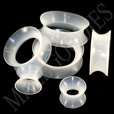 V131 Double Flare Clear Silicone Squishy Saddle Plugs Tunnels Soft Skinny Gauges ()