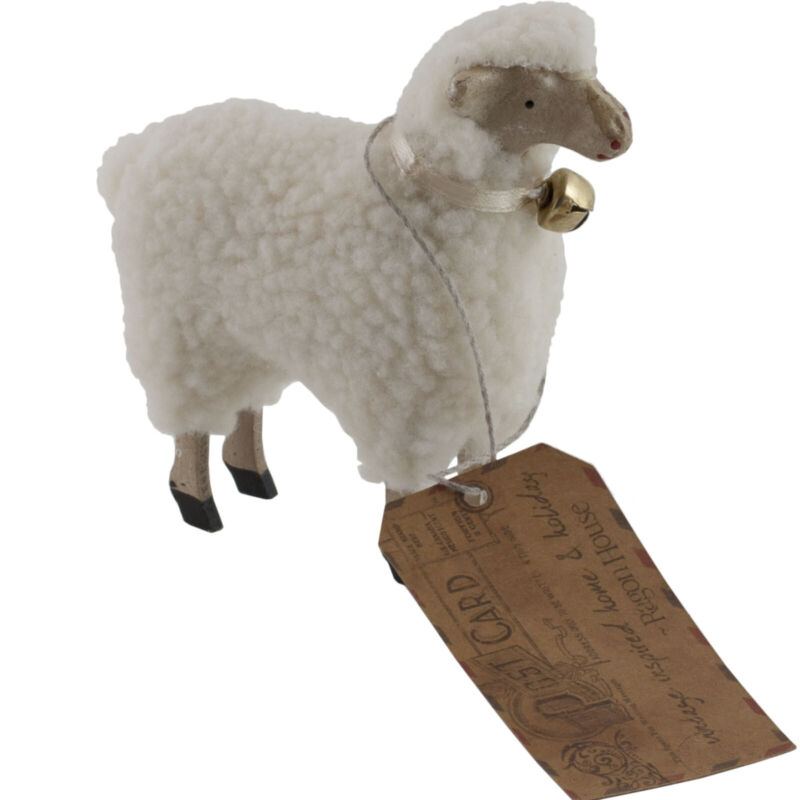 """Wooly Easter German Style White Sheep Lamb Figure with Bell 4"""" Size Putz"""