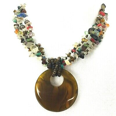 Glass Stone Plastic Necklace 3 Strand Large Pendant Brown Multi Color Statement Glass Multi Stone Pendant