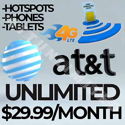 At&t Unlimited 4g Lte Data Plan $29.99/month Hotspots/Smartphones/Tablets