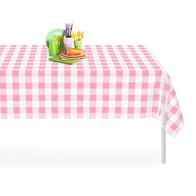 Pink Checkered Gingham 12 Pack Premium Disposable Plastic Tablecloth 54 Inch....