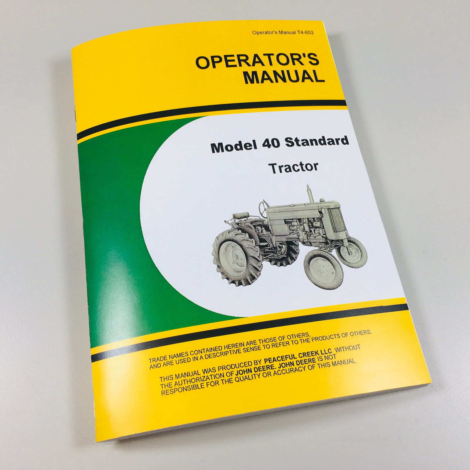 Operator's Manual for JD Model 40 Standard Tractor. Free Fast Shipping!