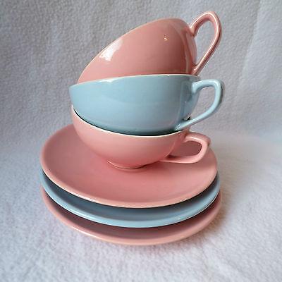 Melitta Minden 3 Teetassen Teetasse mit Unterteller pastell rosa hellblau Set