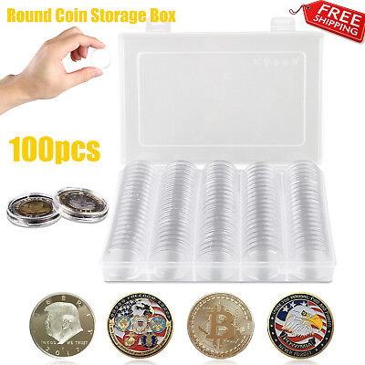 100Pcs 30mm Clear Round Coin Cases Capsules Container Holder Storage Box Plastic