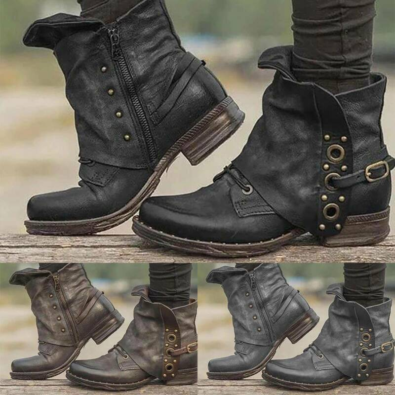Women Vintage PU Leather Martin Ankle Boots Biker Booties Go