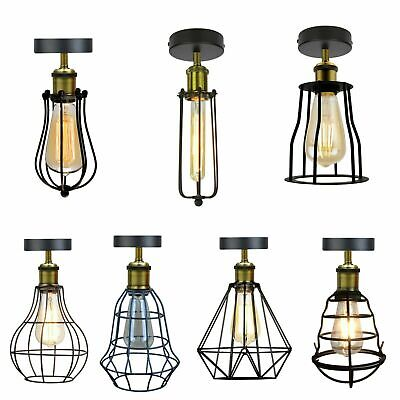 Vintage Retro Cage Light Ceiling Industrial Flush Mount Lamp Chandelier Light