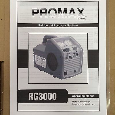 Promax Rg3000 Refrigerant Recovery Printed Users Operating Manual