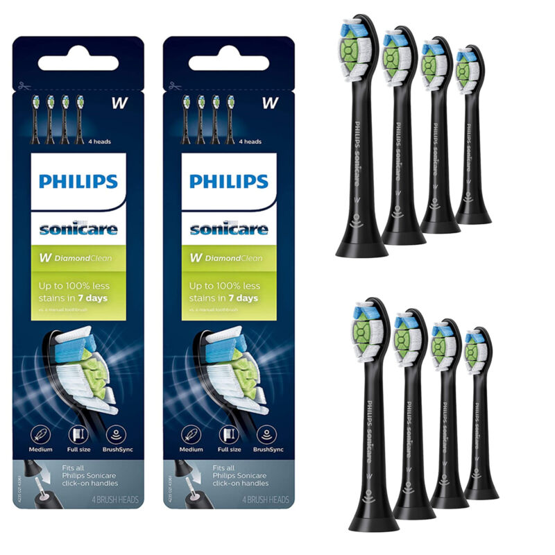 8 Pack Philips Sonicare DiamondClean HX6064/95 Toothbrush Head-Black