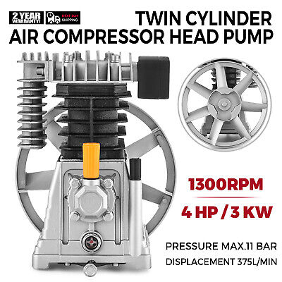 Air Compressor Pump 3hp Aluminum 1300min 160psi Single Stage 2 Cylinder 12cfm