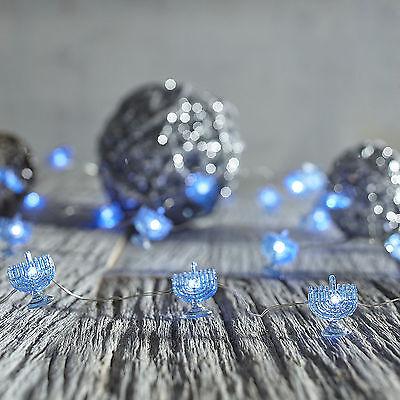 Pier 1 Christmas Blue Menorah Glimmer Strings Flex Led 40 Lights 10Ft Hanukkah