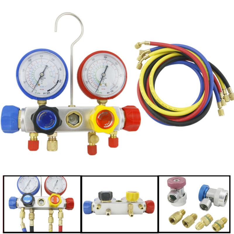 "4 Way AC Manifold Gauge Set R410a R22 R134a Quick Coupler 60"" Hose ACME Adapters"