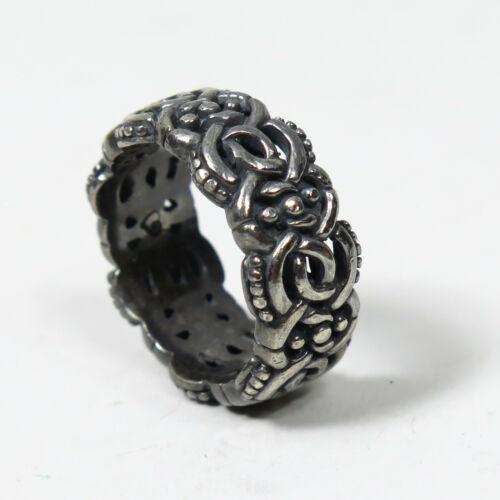 Sz 8 Oxidized Brighton Interlocking Knot Eternity Band Sterling Silver Ring 10g