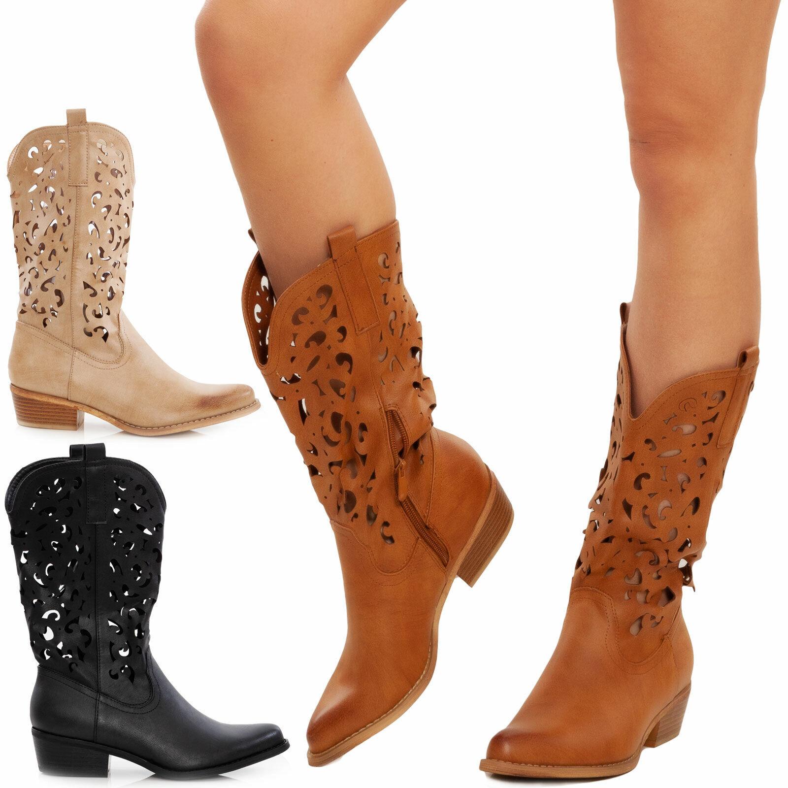 Scarpe donna stivali stivaletti texani camperos traforati