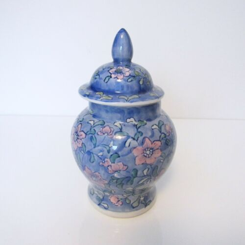 """Chinese Covered Jar - Vintage, blue and pink, 8"""""""
