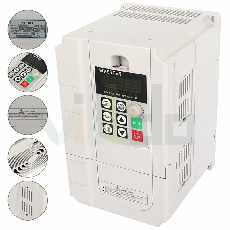 1HP 220V 0.45KW Variable Frequency Driver Interver VFD Single to 3 Phase Output